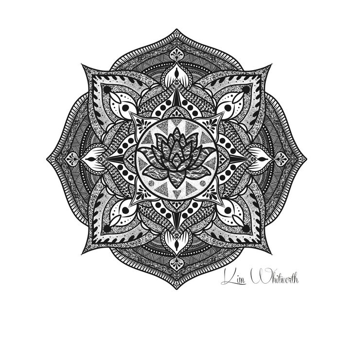 Silver Foil Lotus Mandala - The prints loft