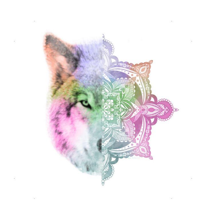 Half Face Wolf Mandala Painting - The prints loft