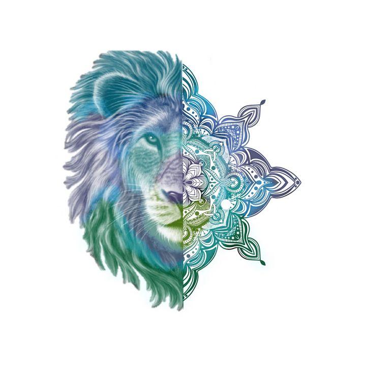 Lion Head Mandala Illustration - The prints loft