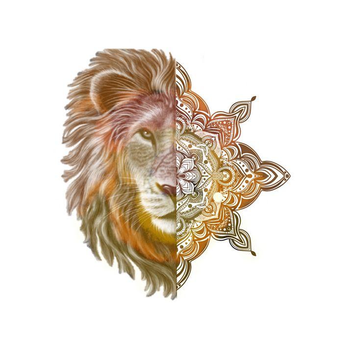 Lion Mandala Modern Illustration - The prints loft