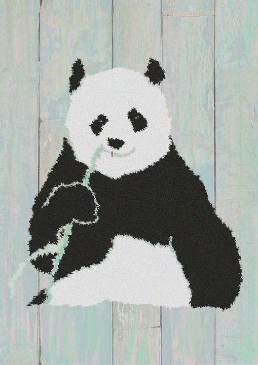 Panda Illustration Wood Background - The prints loft