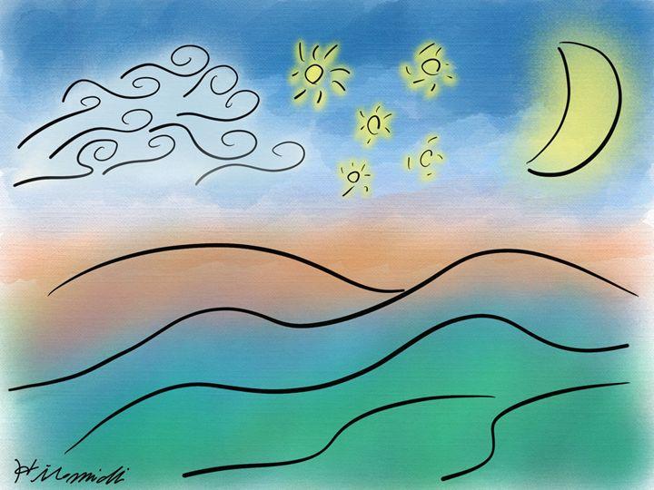 Mountains, Moon, Stars, Cloud - Hiromichi