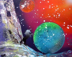 Galactic Unicorn Spray Paint Art