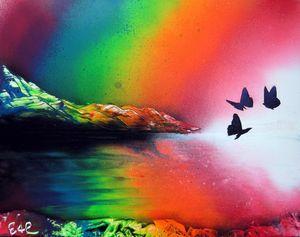 Rainbow Butterflies Spray Paint Art