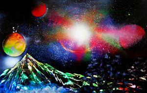 Galactic Explosion over Mountain