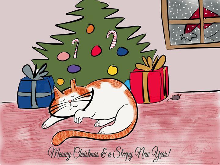 Meowy Christmas & Sleepy New Year - Sunshine's Doodles