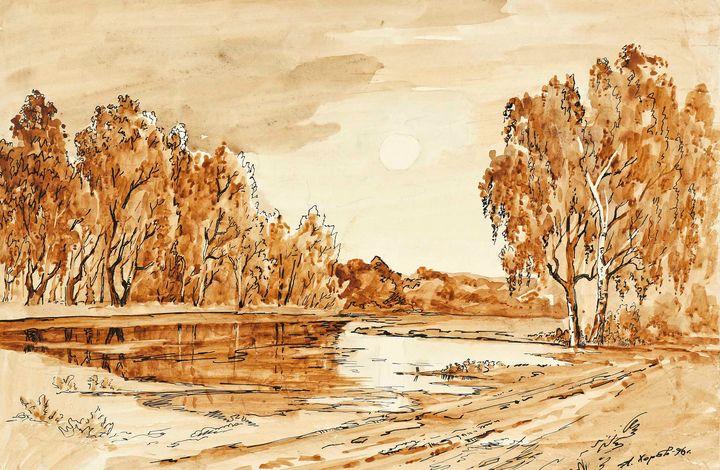Gouache painting Early morning - UkrainianVIntageCo