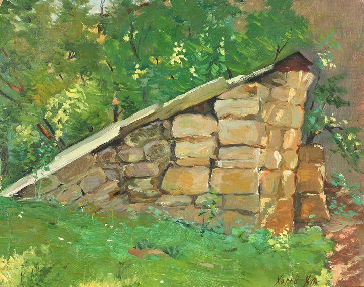 Oil painting The grave landscape - UkrainianVIntageCo