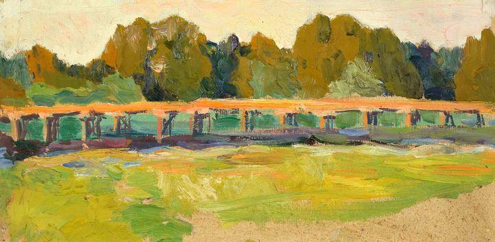 Oil painting Bridge landscape - UkrainianVIntageCo