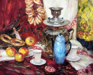 Oil painting Still life on red