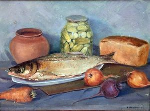 Oil painting Fish, cucumbers, bread