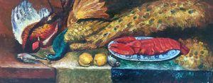 Oil painting Hunter's Still Life
