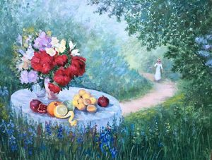 Oil painting Romantic still life