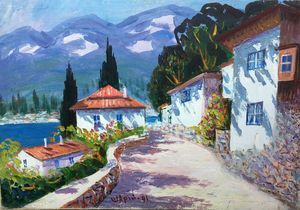 Oil painting Near the sea