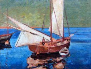 Oil painting Sailboat landscape