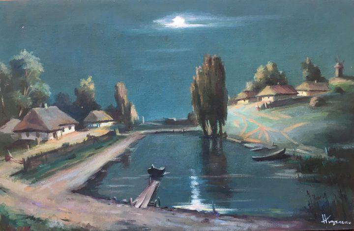 Oil painting village in the night - UkrainianVIntageCo
