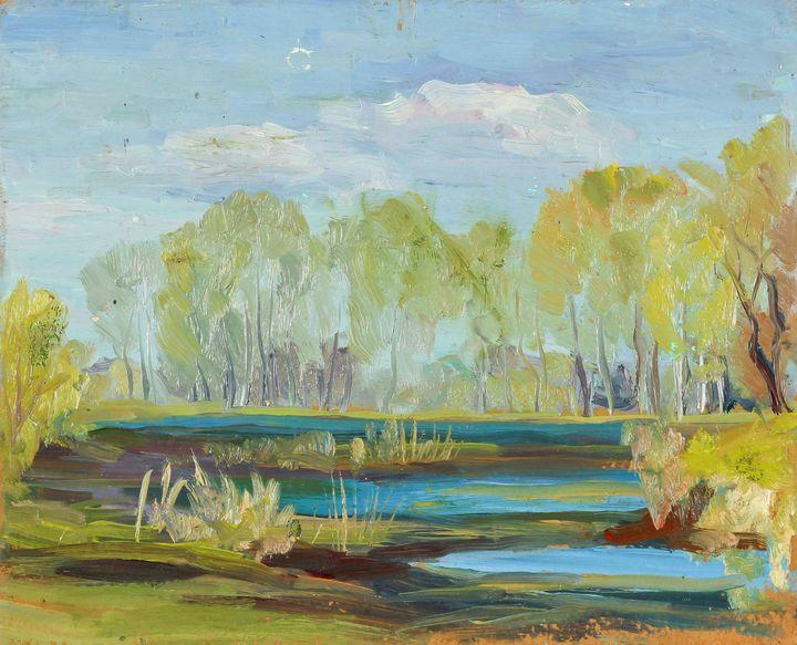 Oil painting The swamp of sorrow - UkrainianVIntageCo