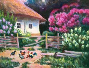 Oil painting Elderly man's home