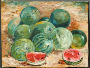 Oil painting watermelons still life