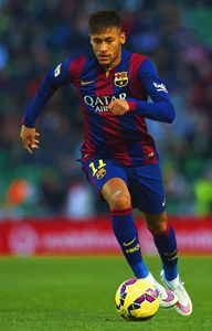 Neymar JR of Barcelona runs with the