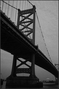 Ben Franklin Bridge in B&W