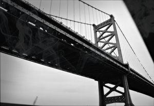 Ben Franklin Bridge Horizontal B&W