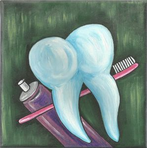 Tooth, brush and paste