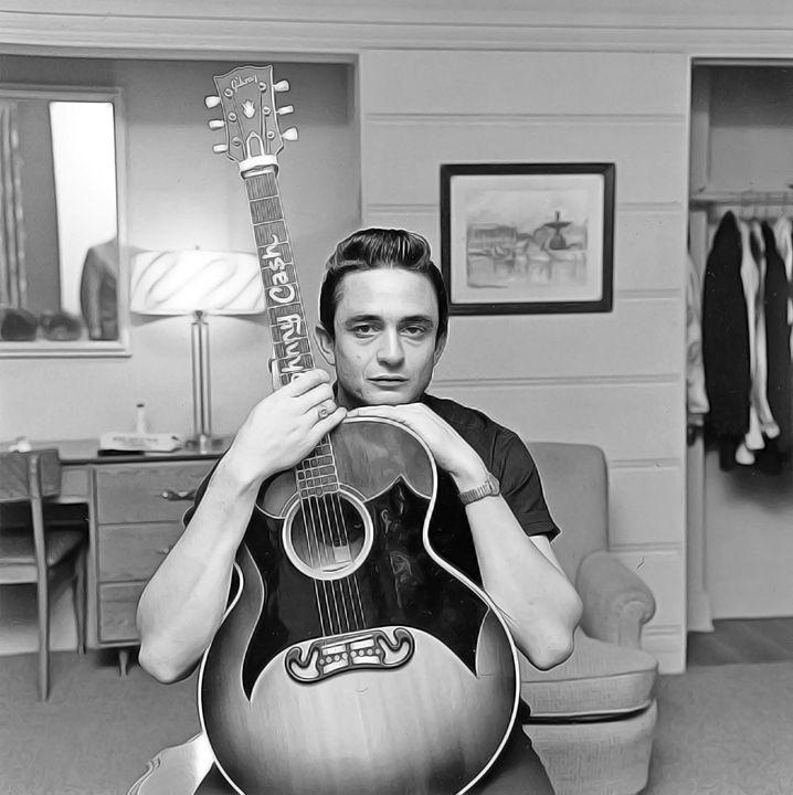 Johnny Cash - Celebrity - Oil Paint - Oil Paint Art