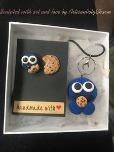 Polymer Clay Cookie Monster Set - Artisan PolyCharm