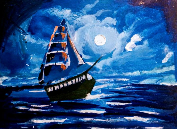 Boat at night - My own art gallery