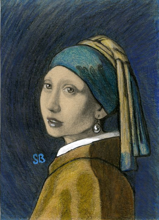 Reproduction Girl with a Pearl- - Sarah Bradley art