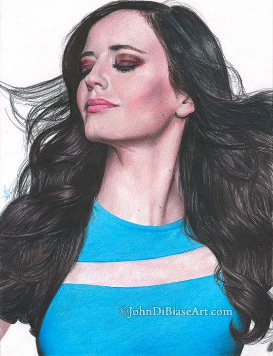 Eva Green Colored Pencil Print - John DiBiase Art