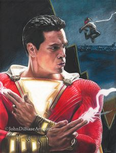 "Print of Pencil ""Shazam!"" Drawing"