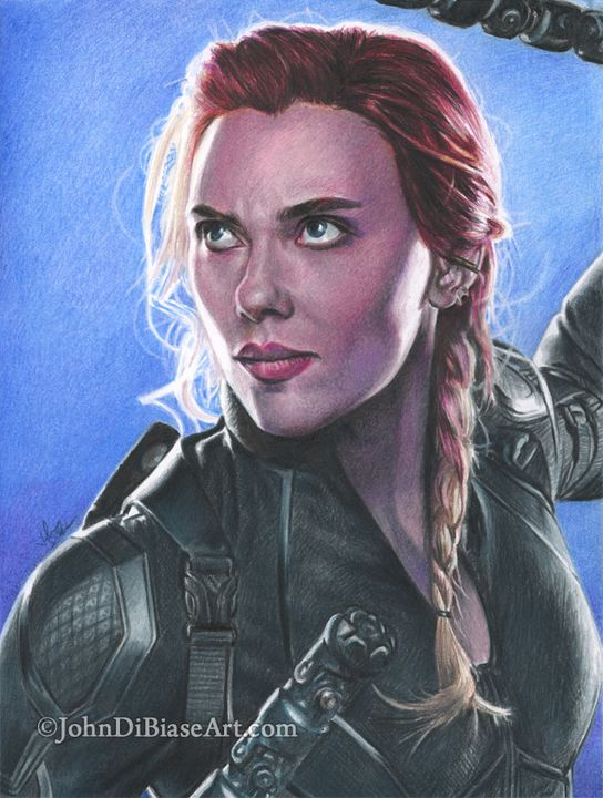 Print Of Natasha In Avengers Endgame John Dibiase Art Paintings