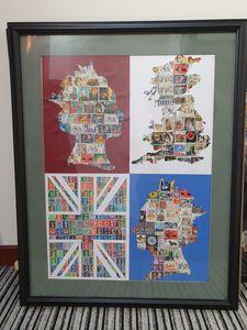 Old UK Post stamps artwork