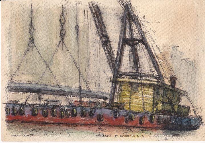Workboat at South St., NYC - Harold Radgiff