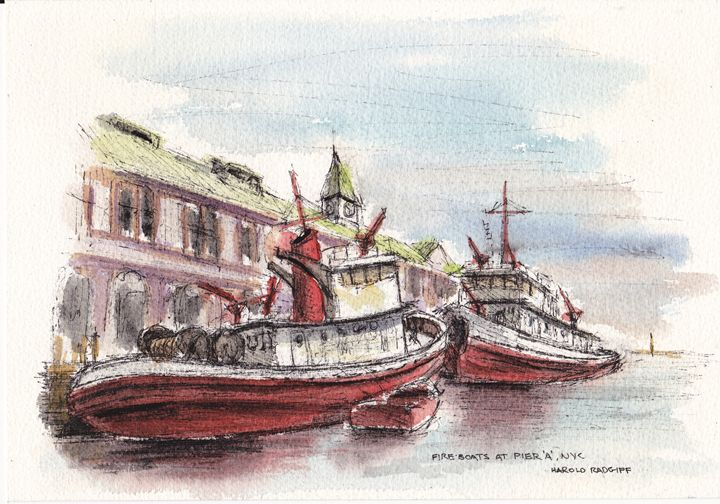 """Fire Boats at Pier """"A,"""" NYC - Harold Radgiff"""