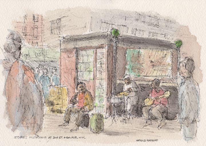Street Musicians at 3rd & 6th Ave. - Harold Radgiff