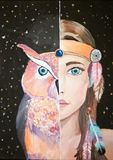 Woman and Owl painting.