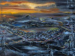 The bronze sundown - oil on canvas