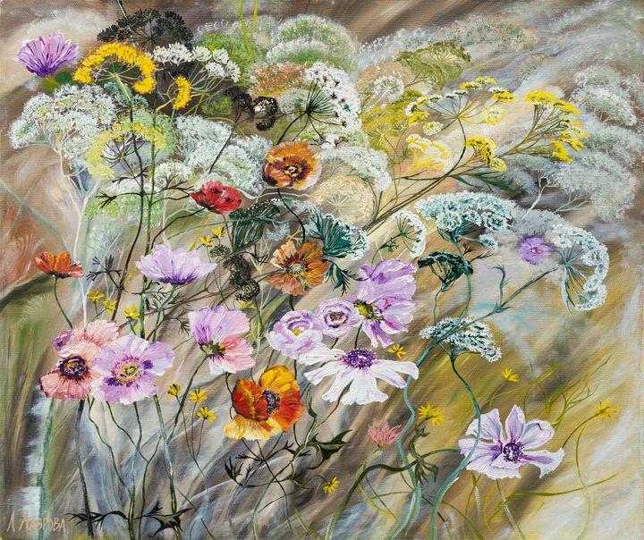 Meadow - oil painting on canvas - Lavrova Larisa