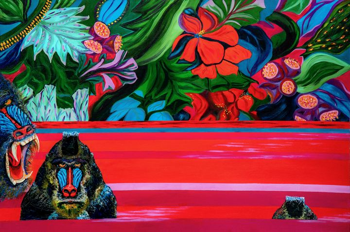 Apes in Red River- oil on canvas - Lavrova Larisa