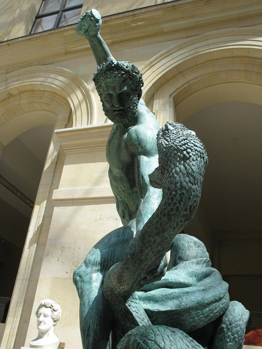 Statue of Hercules Fighting Serpent - Claude Chapdelaine Fine Arts