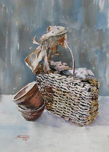 Basket and dried leaf