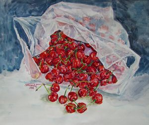 Cherries in plastic bag