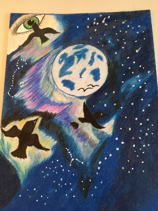 Looking to the night sky - Art by Laura