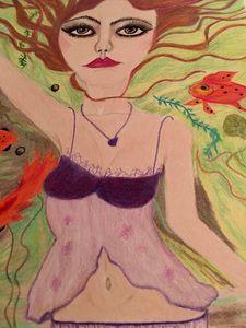 swimming with goldfish