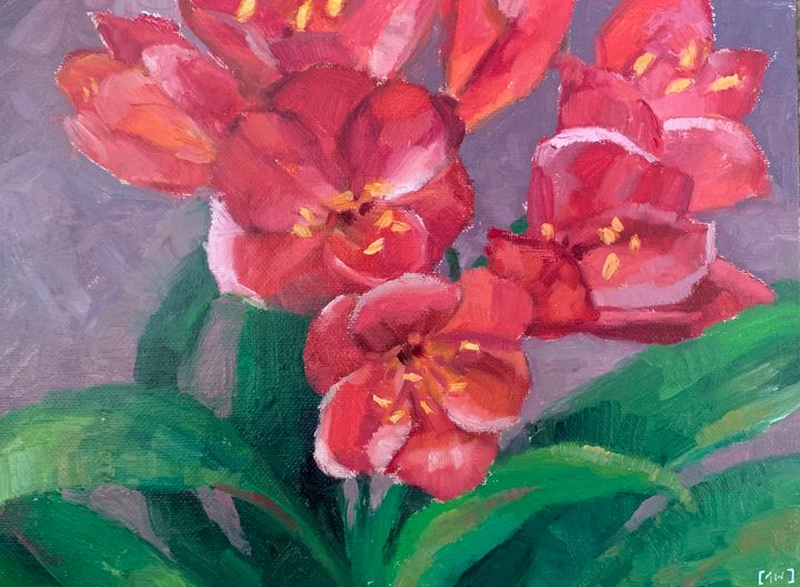 Scarlet Flowers - Abbey Wineglass, an Artist