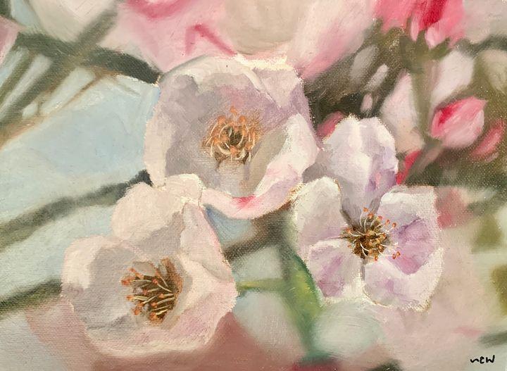 White Lilac Flowers - Abbey Wineglass, an Artist