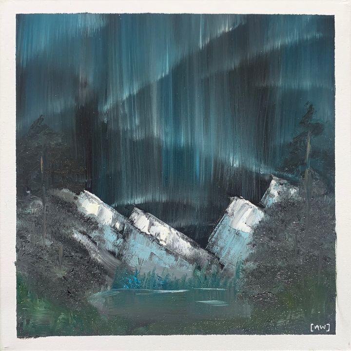 Mountain Lights - Abbey Wineglass, an Artist